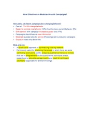 Exam Notes_Effectiveness in Health Campaigns