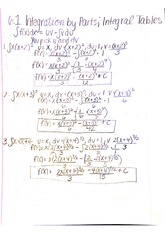 6.1 integration by parts, integral Tables notes