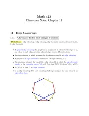 MATH 423 Chapter 11 Notes