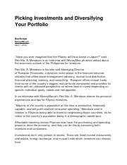 Picking Investments and Diversifying Your Portfolio.docx