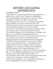 HISTORY AND GLOBAL DISTRIBUTION