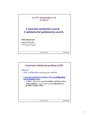 Lecture Notes on Constraint satisfaction search. Search for optimal configurations