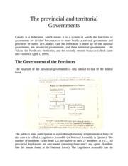 Notes on the Provincial and Territorial Government