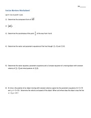 Vectors review with answers
