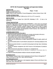 HRTM 344  Personnel Organization and Supervision FALL 2013  syllabus(3)