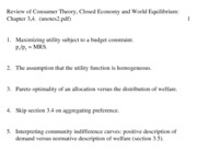 Consumer Theory, Closed Economy and World Equilibrium