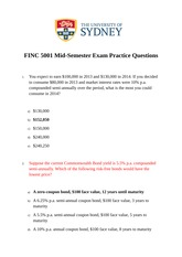 FINC 5001 Mid-Semester Practice Questions Master