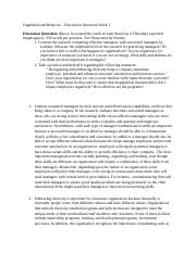 Organizational Behavior - Discussion Questions Week 1.docx