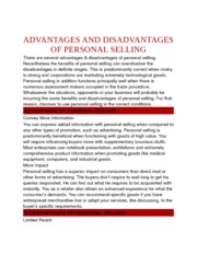 ADVANTAGES AND DISADVANTAGES OF PERSONAL SELLING