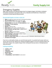 Emergency Diaster Ready Family Supply List