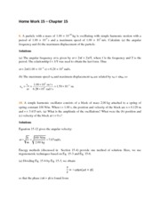 Home Work 15 Solutions