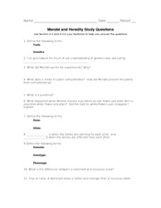 Mendel & Heredity HW Questions