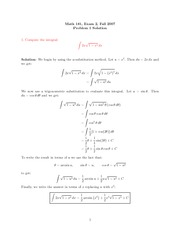 Exam 2 Solution on Calculus II Fall 2007