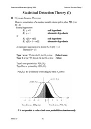 Statistical Detection Theory I