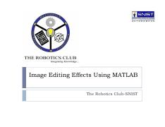 Image Editing Effects Using MATLAB [Read-Only]