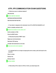 ATPL IFR COMMUNICATION EXAM QUESTIONS