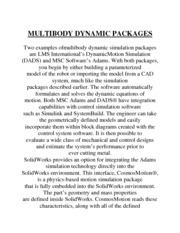 MULTIBODY DYNAMIC PACKAGES