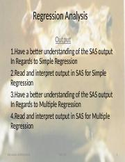 STAT430; Topic 18 Deeper Look at Regression and the SAS Output