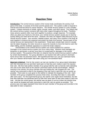 Reaction Time Lab Report