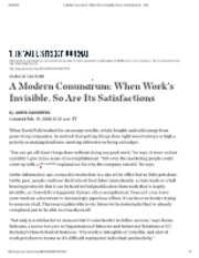 A Modern Conundrum When Work's Invisible, So Are Its Satisfactions - WSJ.pdf