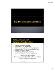 Capital Raising and Valuation