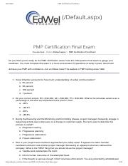 PMP Certification Final Exam edwel