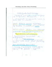 Microbiology- Class Notes- History of Microbiology