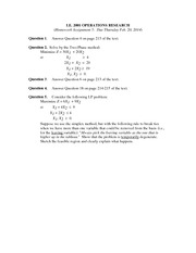 Homework Solutions on Simplex Method - Special Cases