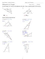 5 Midsegment Of A Triangle Kuta Software Infinite Geometry