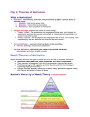 Chapter 4 - Theories of Motivation