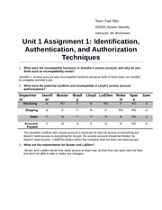 Unit 1 Assignment 1 Identification, Authentication, and Authorization Techniques