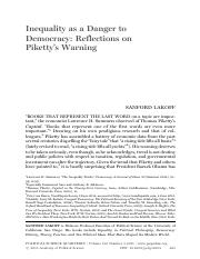Lakoff, Inequality as a Danger to Democracy- Reflections on Piketty's Warning