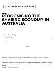 Airbnb Action Recognising the sharing economy in Australia - Airbnb Action