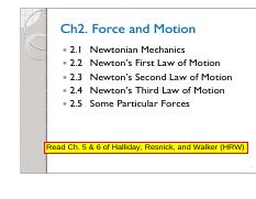 Ch2 Force and Motion