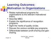 Chapter 19 - Motivation in Organizations