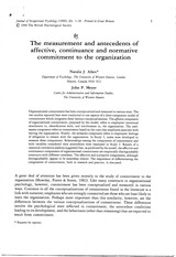 Journal of Occupational Psychology, The Measurement and Antecedent of Affective, Continuance and Nor