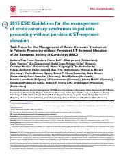 2015 ESC Guidelines for the management non-st elevation acs