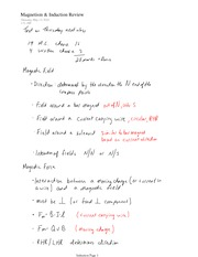 PHYS 12 Magnetism and Induction Review Notes