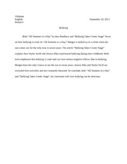 rogue wave essay villafane english period a resourceful and  1 pages bullying essay