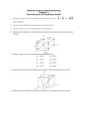 Question for Material Science and Engineering-Chapter 3-15 March 2017