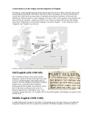 A short history of the origins and development of English