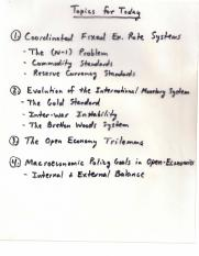 Econ 345 Coordinated Fixed Exchange Rate System Notes