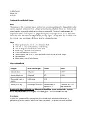 synthesis of aspirin lab report .docx