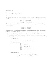 ECON 401 Assignment 2 Solutions