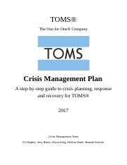 crisis management plan essay Free essays from bartleby | coffee company crisis case - part i dr phillip   therefore, a relevant public relations crisis response plan needs to be developed.