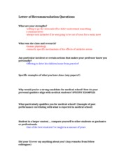 Letter of Recommendation Questions