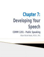 Chapter 7 Developing Your Speech.pptx