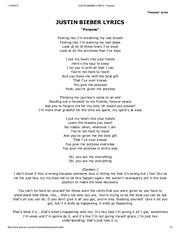 JUSTIN BIEBER LYRICS - Sorry -