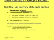 Tutorial One Auditing I