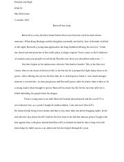Beowulf test essay